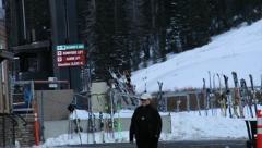 Ski Lodge Rental Snowboarding Stock Footage