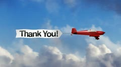 Airplane Banner - Thank You Stock Footage