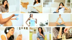 Montage Images of Young Female Modern Lifestyle Stock Footage