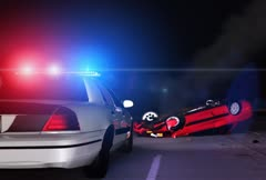 Police Car At Scene Of Accident - 3D Animation - stock footage