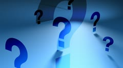 Question marks (blue spinning backgorund) Stock Footage
