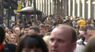 Crowds of people shopping on Oxford Street in London Stock Footage