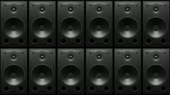 thumping bass speakers wall - stock footage