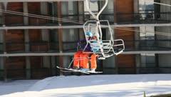 Ski Lift Snowboarding Ramp Snow Winter 17 - stock footage