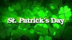 St. patrick's day - green four leaf clover title Stock Footage