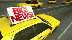 Big news! taxi advertising message board (loop) Stock Footage