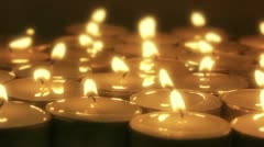 Tea candles burning Stock Footage