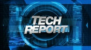 Stock Video Footage of tech report - broadcast news graphics title