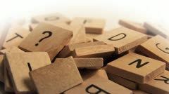 Alphabet tiles with question mark (loop) Stock Footage