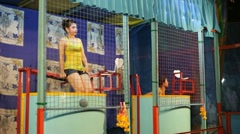 Game in Bangkok temple fair, Loy Krathong festival, Thailand Stock Footage