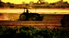 Tractor Plowing Farm Agriculture Field Stock Footage