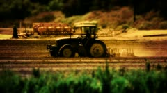 Tractor Plowing Farm Agriculture Field - stock footage