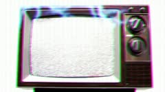 Television Static Electrical Shock Overload Stock Footage