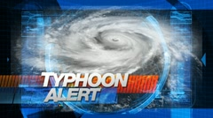 Typhoon Alert - News Title Graphics Stock Footage