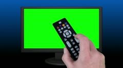 Remote Control Television (Chroma Key Green Screen) - stock footage