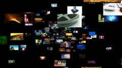Stock Video Footage of Video Wall Media Streaming Background