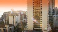 Waikiki, Hawaii City Skyline Sunset Stock Footage