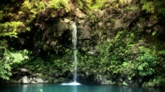 Waterfall In Tropical Island Paradise Stock Footage