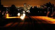 Los Angeles Freeway Traffic At Night Stock Footage