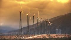 Wind Power Turbines (Sunset) - stock footage
