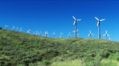 Wind Power Turbines (Green Hills & Blue Sky) - stock footage
