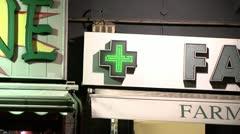 Italian Farmacy Sign. Stock Footage