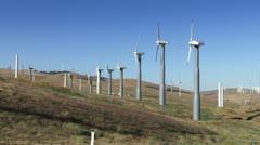Stock Video Footage of Wind Power Turbines (Blue Sky)