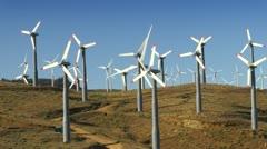 Wind Power Turbines (Hills & Blue Sky) - stock footage