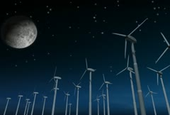 Wind Power Turbines (Night) Stock Footage