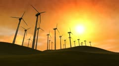 Wind Power Turbines (Sunset) Stock Footage