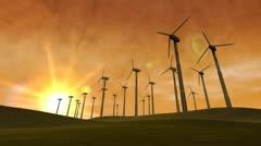 Wind Power Turbines (Sunset) Stock Footage