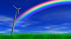 Wind Power Turbine & Rainbow - stock footage