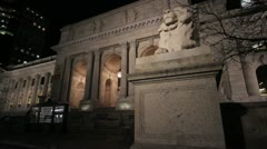 New York Public Library Night Stock Footage