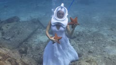 underwater wedding II - stock footage
