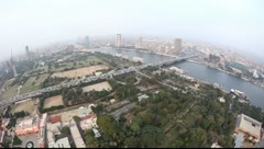 Aerial view on the Cairo city (fisheye) Stock Footage