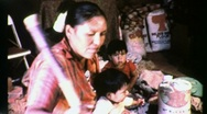 Stock Video Footage of Navajo Mother and Children in Hogan Circa 1965 (Vintage Film Footage) 1530