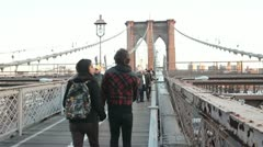 Brooklyn Bridge Off Center Stock Footage