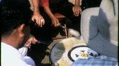Native American Men Drumming Drums 1960s Vintage Home Movie 1543 Stock Footage