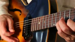 Playing  lead electric guitar  X closeup Stock Footage