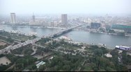 Stock Video Footage of Aerial view on the Cairo city roads and river