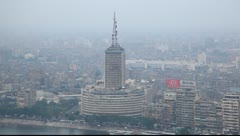 Aerial view on the Cairo tv center Stock Footage