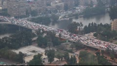 Traffic on the road. View from the Cairo tower Stock Footage