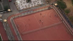 Football field with players. View from the top Stock Footage