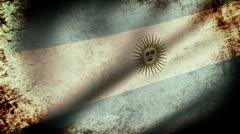 Argentina Flag Waving, grunge look Stock Footage
