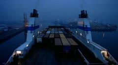 Timelapse Finnline arriving Germany Rostock harbour harbor sea port Stock Footage