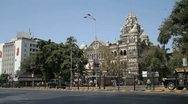 Stock Video Footage of Traffic passing by Chhatrapati Shivaji Terminus in Mumbai, India