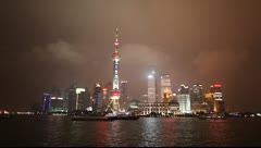 Skyline at night Shanghai Stock Footage