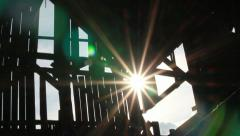 Barn silhouette sunlight dolly Stock Footage