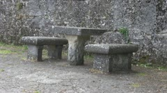 Beautiful ancient stone bench Stock Footage