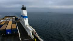 Pan shot Finnline ferry with Cargo truck on Baltic sea Stock Footage